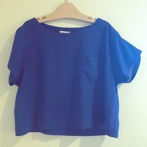 Lush Sheer Blue Cropped Top
